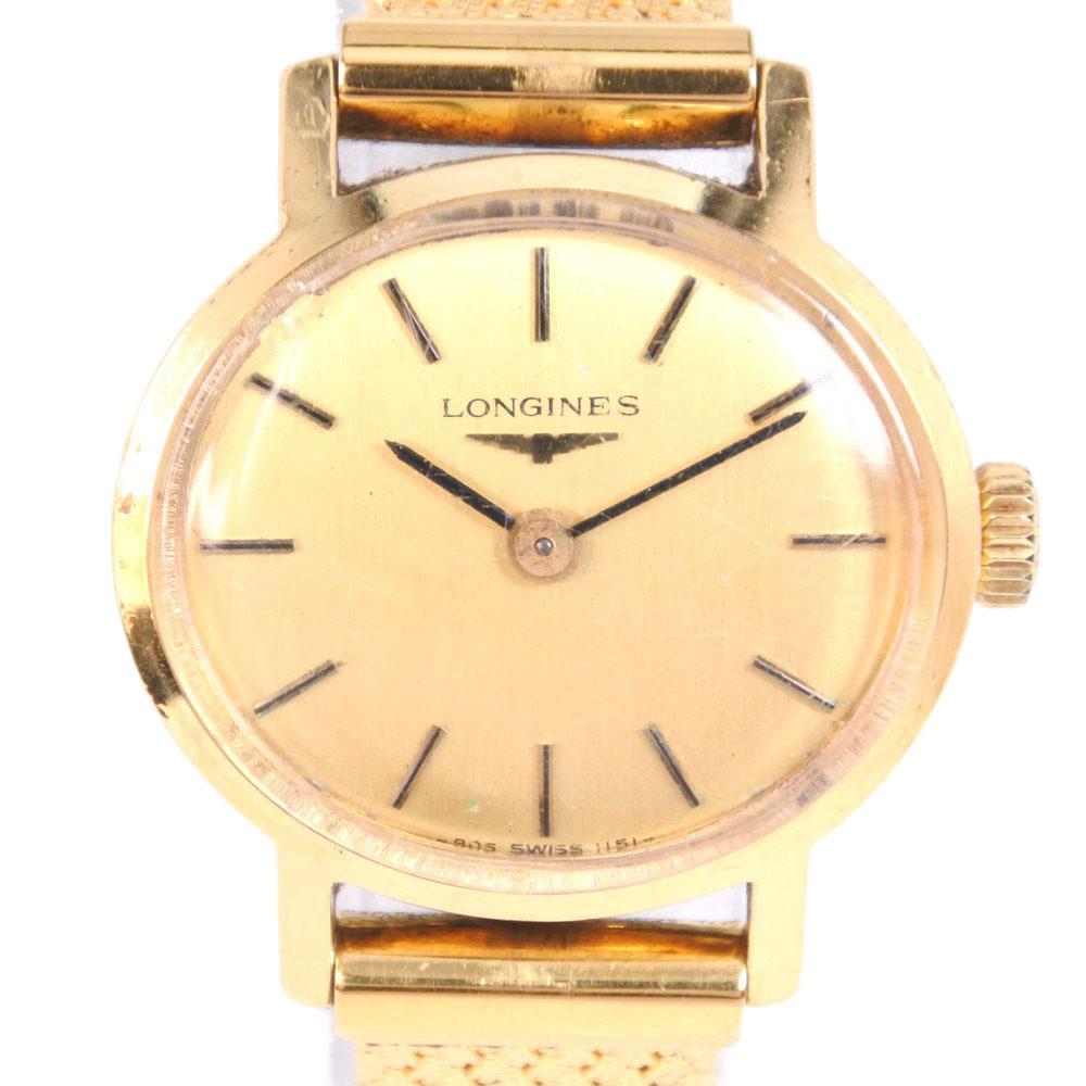 【LONGINES】ロンジン ステンレススチール 手巻き レディース ゴールド文字盤 腕時計【中古】