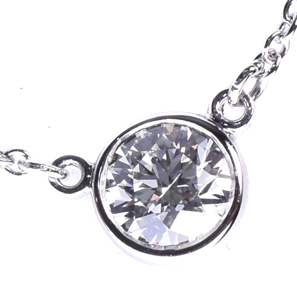 【TIFFANY&Co.】ティファニー バイザヤード ダイヤモンド 約0.25ct Pt950プラチナ レディース ネックレス【中古】SAランク