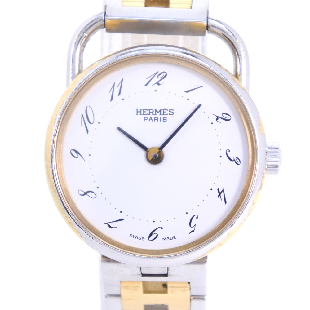 【HERMES】エルメス アルソー ステンレススチール×GP ゴールド クオーツ レディース 白文字盤 腕時計【中古】