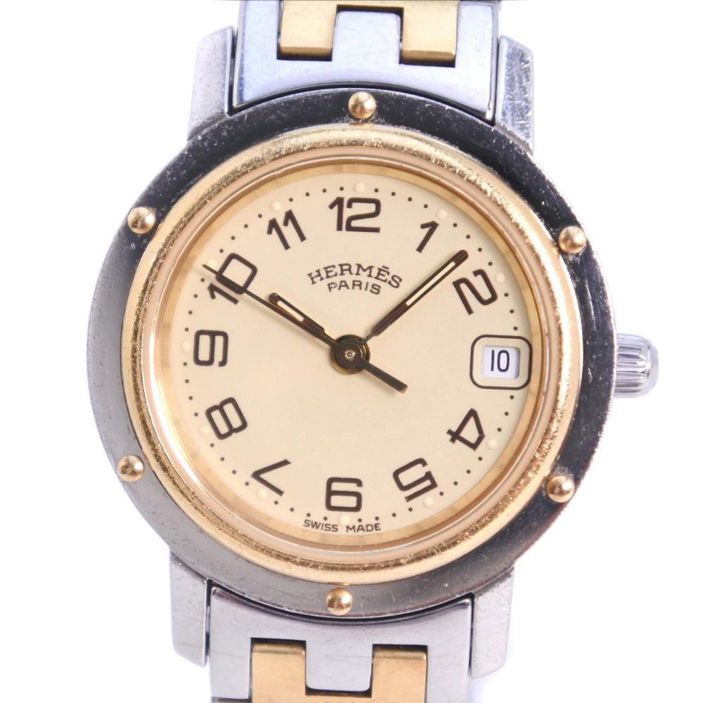 【HERMES】エルメス クリッパー CL4.220 GP×ステンレススチール ゴールド クオーツ レディース クリーム文字盤 腕時計【中古】