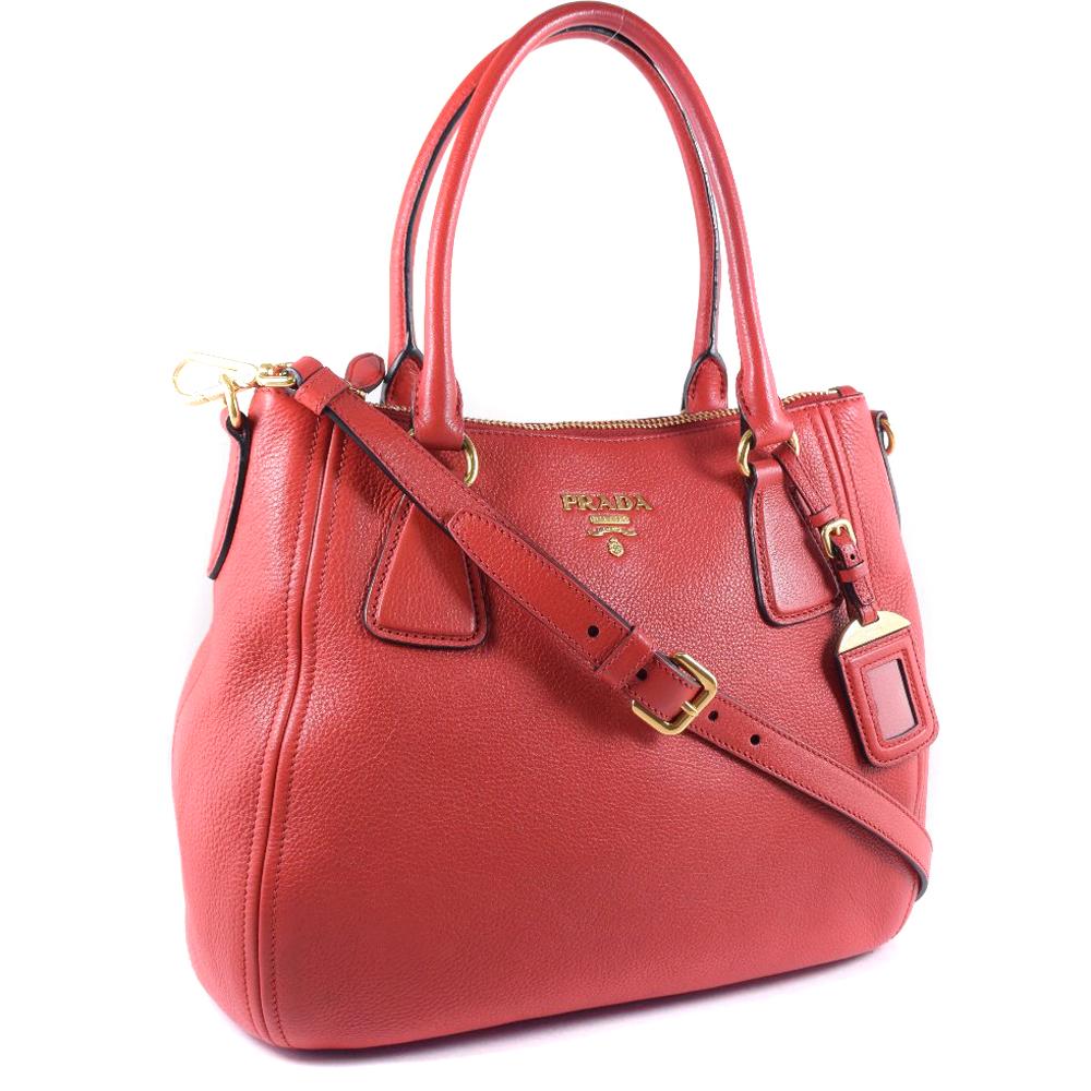 d1fe1c6663b9 pawn shop nishikino  Prada VITELLO PHENIX 1BC032 ROSSO red Lady s ...