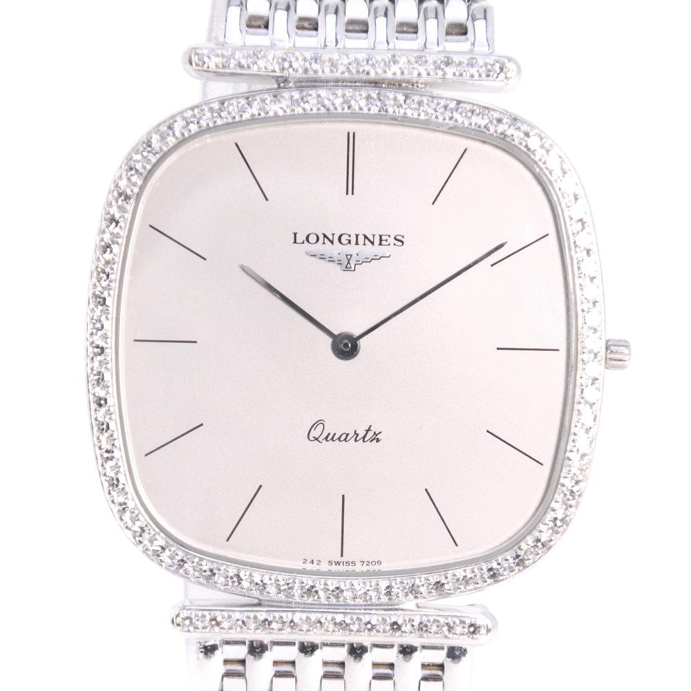 【LONGINES】ロンジン ダイヤベゼル K18ホワイトゴールド シルバー クオーツ メンズ シルバー文字盤 腕時計【中古】Aランク
