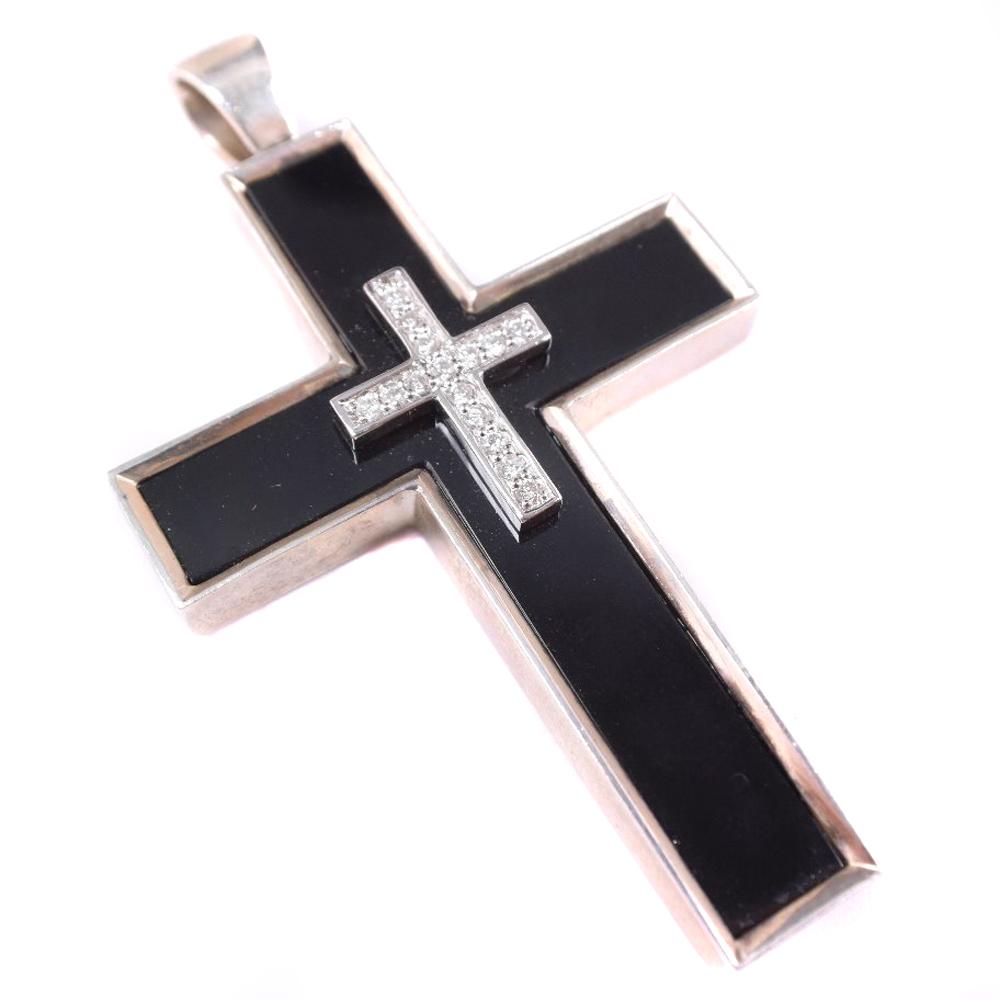【Justin Davis】ジャスティンデイビス ダイヤモンド クロス 十字架 オニキス×シルバー925 メンズ ペンダントトップ【中古】Aランク