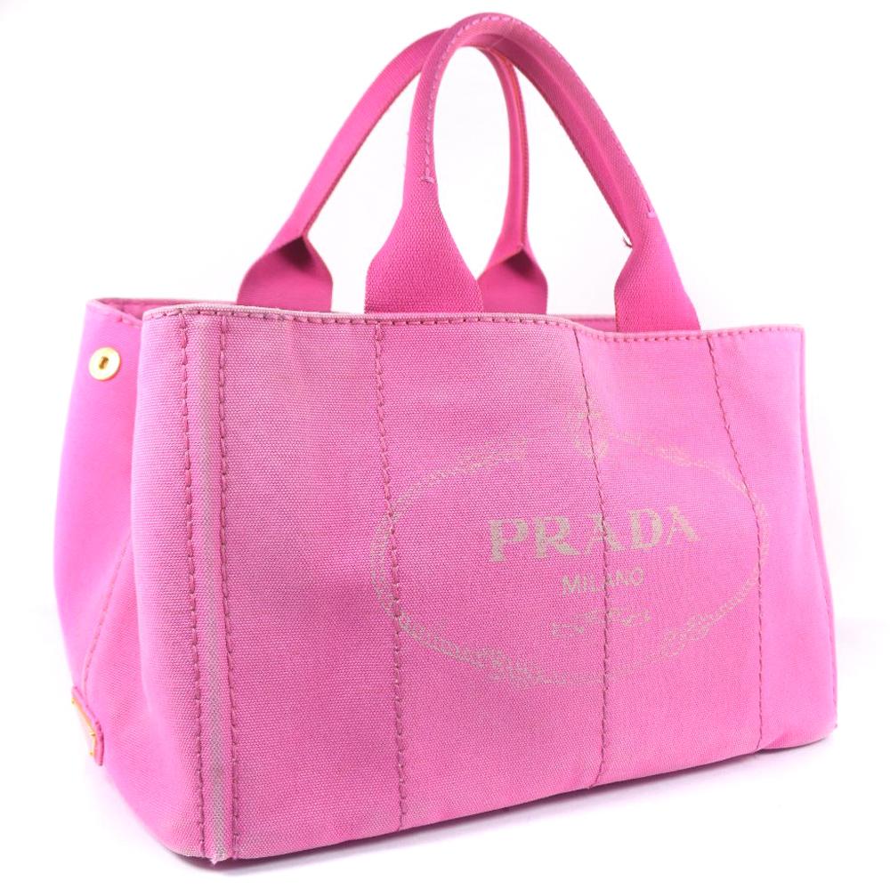 【PRADA】プラダ ミニカナパトート B1877B キャンバス ピンク ハンドバッグ【中古】