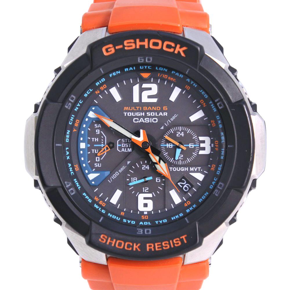 【CASIO】カシオ Gショック タフソーラー GW-300M ラバー×ステンレススチール オレンジ ソーラー電波時計 メンズ 黒文字盤 腕時計【中古】Aランク