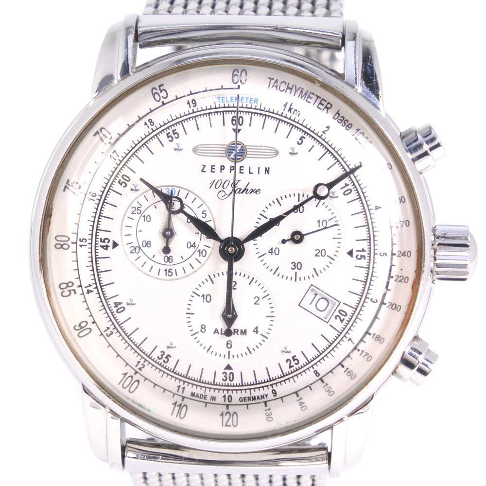 【ZEPPELIN】ツェッペリン 100周年記念モデル ステンレススチール クオーツ メンズ シルバー文字盤 腕時計【中古】