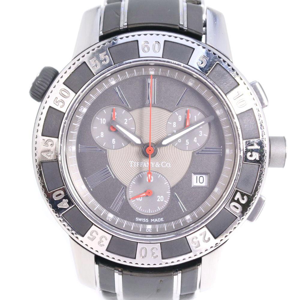 【TIFFANY&Co.】ティファニー マーク T-57 18014637 ステンレススチール シルバー クオーツ メンズ グレー文字盤 腕時計【中古】