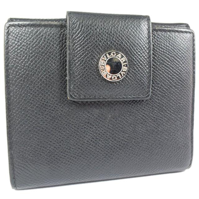 【BVLGARI】ブルガリ カーフ 黒 ユニセックス 二つ折り財布【中古】Aランク