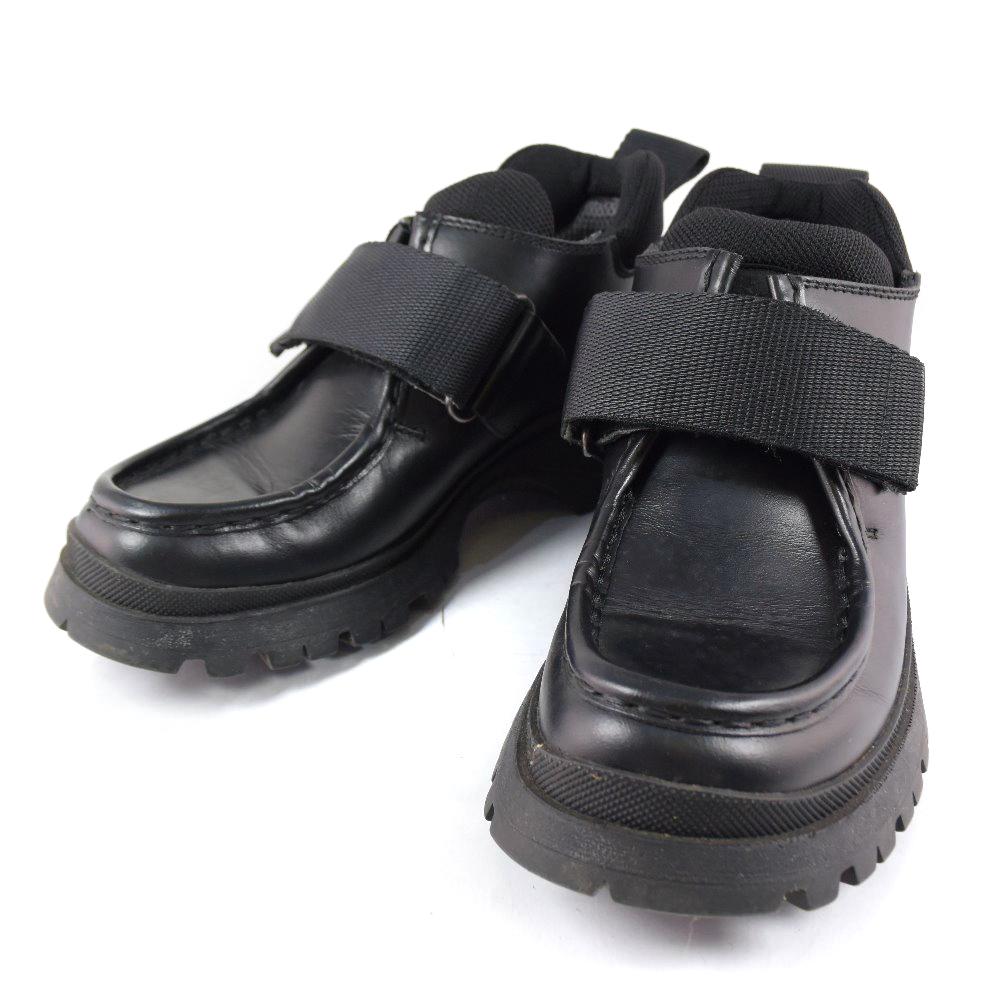 【PRADA】プラダ ショートブーツ レザー NERO 黒 35刻印 レディース ブーツ【中古】A-ランク