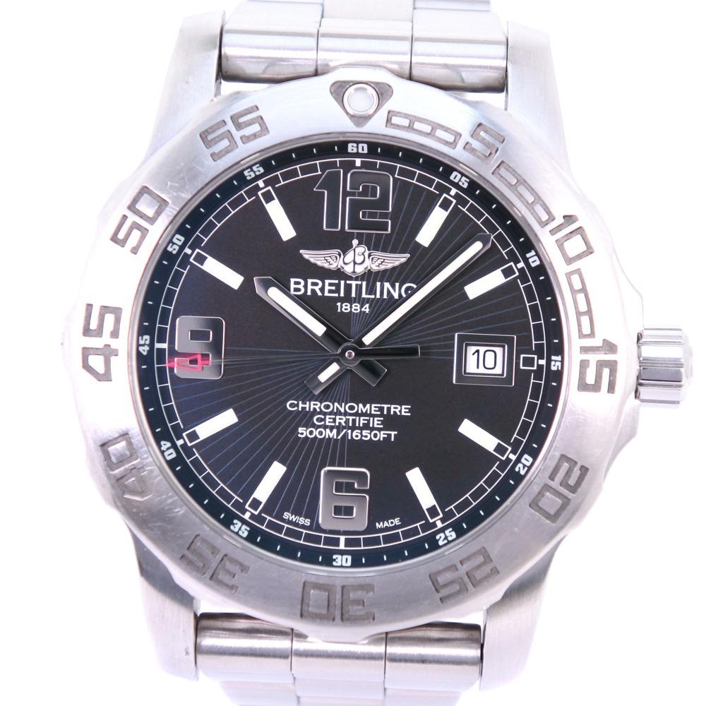 【BREITLING】ブライトリング コルト44 A743B50PCS/A74387 ステンレススチール シルバー クオーツ メンズ 黒文字盤 腕時計【中古】A-ランク