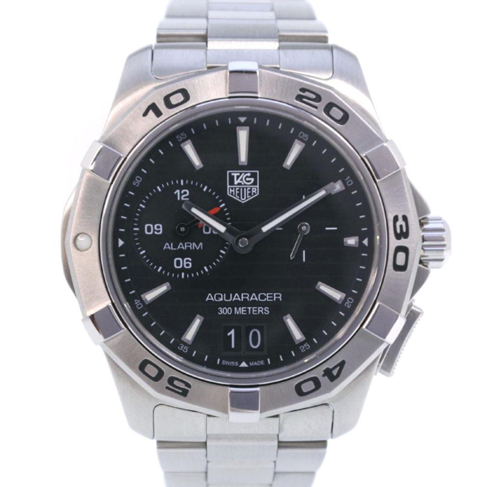 【TAG HEUER】タグホイヤー アクアレーサー グランドデイト アラーム WAP111Z.BA0831 ステンレススチール クオーツ メンズ 黒文字盤 腕時計【中古】SAランク