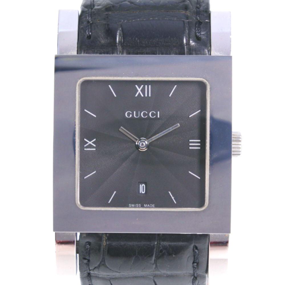 【GUCCI】グッチ 7900M ステンレススチール×レザー シルバー クオーツ メンズ 黒文字盤 腕時計【中古】A-ランク