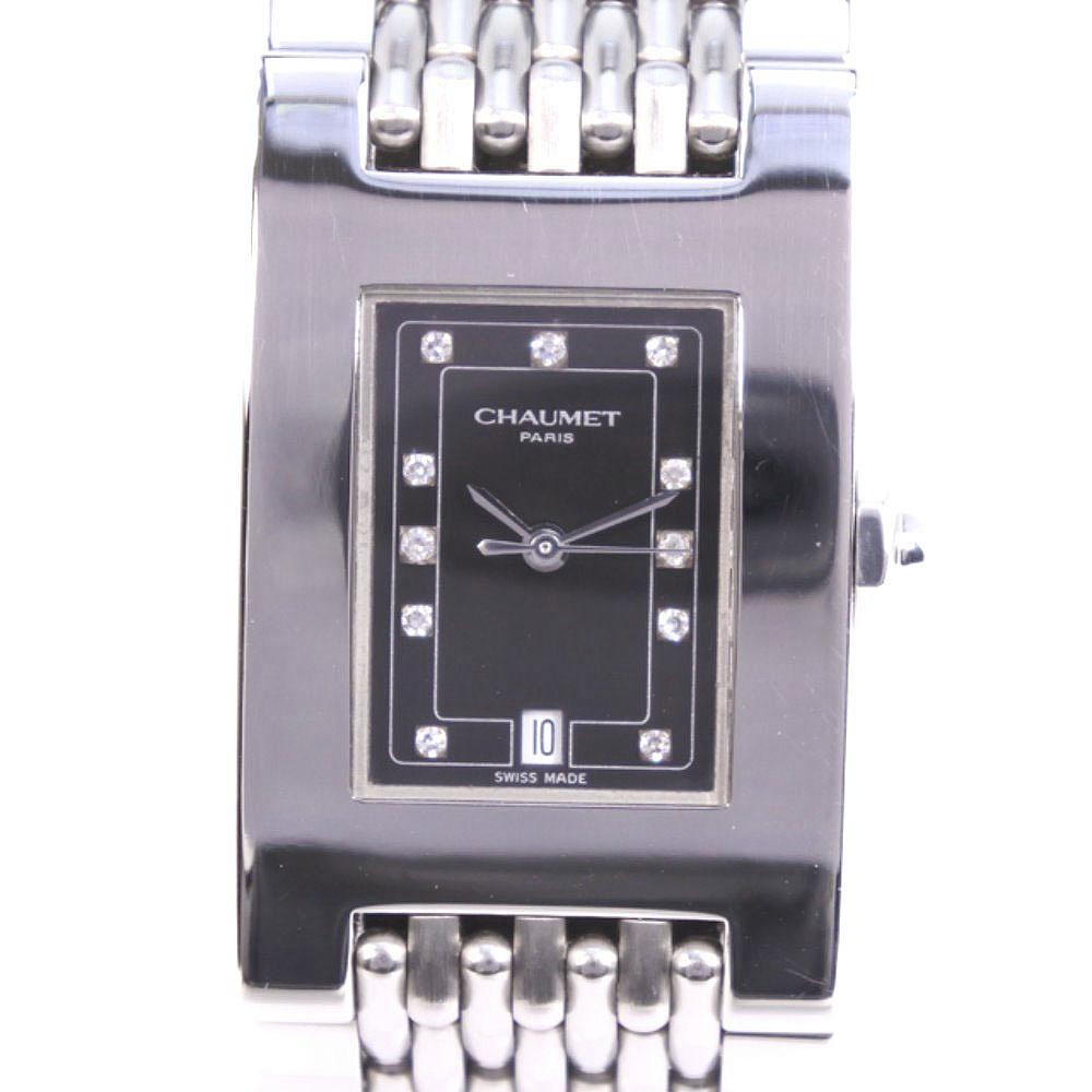 【Chaumet】ショーメ スティルドゥ 11Pダイヤ シルバー クオーツ レディース 黒文字盤 腕時計【中古】A-ランク