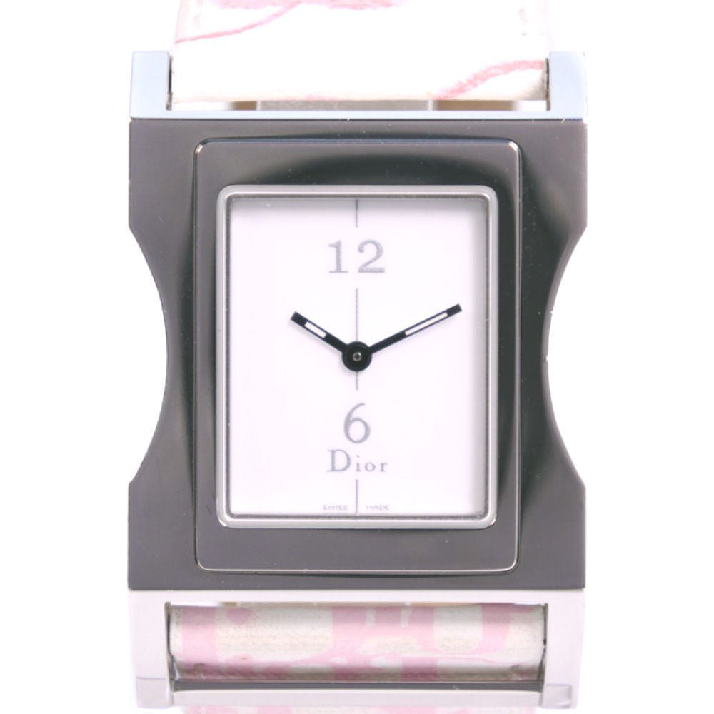 【Christian Dior】クリスチャンディオール クリス47 CD033110 ステンレススチール×レザー ピンク クオーツ レディース 白文字盤 腕時計【中古】Aランク