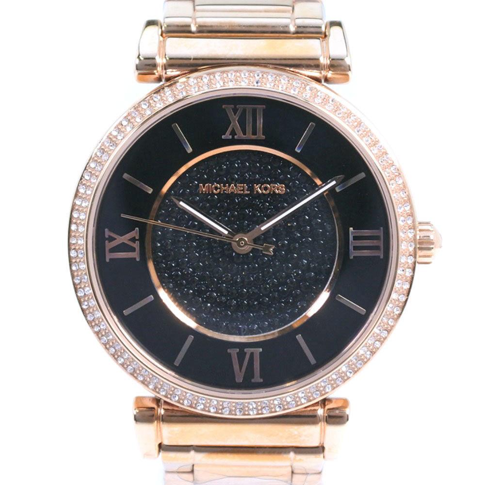 【Michael Kors】マイケルコース ラインストーン MK-3356 ステンレススチール ピンクゴールド クオーツ レディース 黒文字盤 腕時計【中古】Sランク
