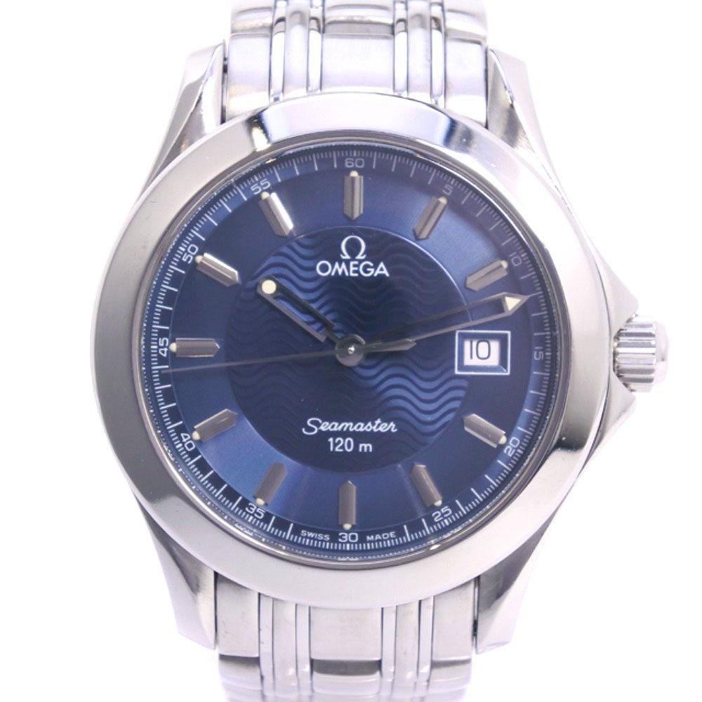 【OMEGA】オメガ シーマスター120M 2511.81 ステンレススチール シルバー クオーツ メンズ 青文字盤 腕時計【中古】A-ランク