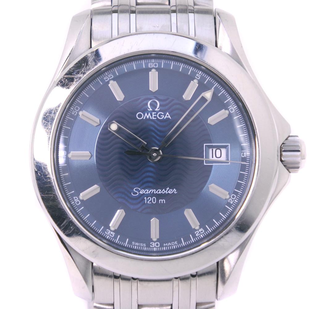 【OMEGA】オメガ シーマスター120M 2511.81 ステンレススチール シルバー クオーツ メンズ 青文字盤 腕時計【中古】