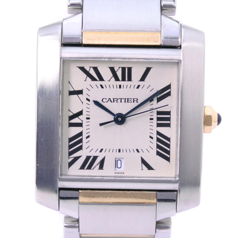 【CARTIER】カルティエ タンクフランセーズLM W51005Q4 ステンレススチール×K18イエローゴールド シルバー 自動巻き メンズ 白文字盤 腕時計【中古】A-ランク