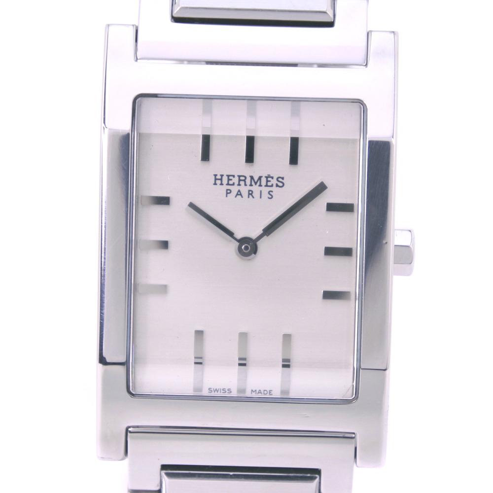 【HERMES】エルメス タンデム TA1.710 ステンレススチール クオーツ メンズ シルバー文字盤 腕時計【中古】A-ランク