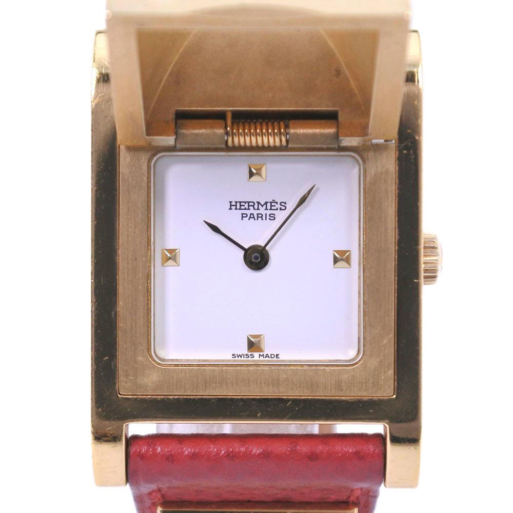 【HERMES】エルメス メドール GP×レザー ゴールド 〇Y刻印 クオーツ レディース 白文字盤 腕時計【中古】
