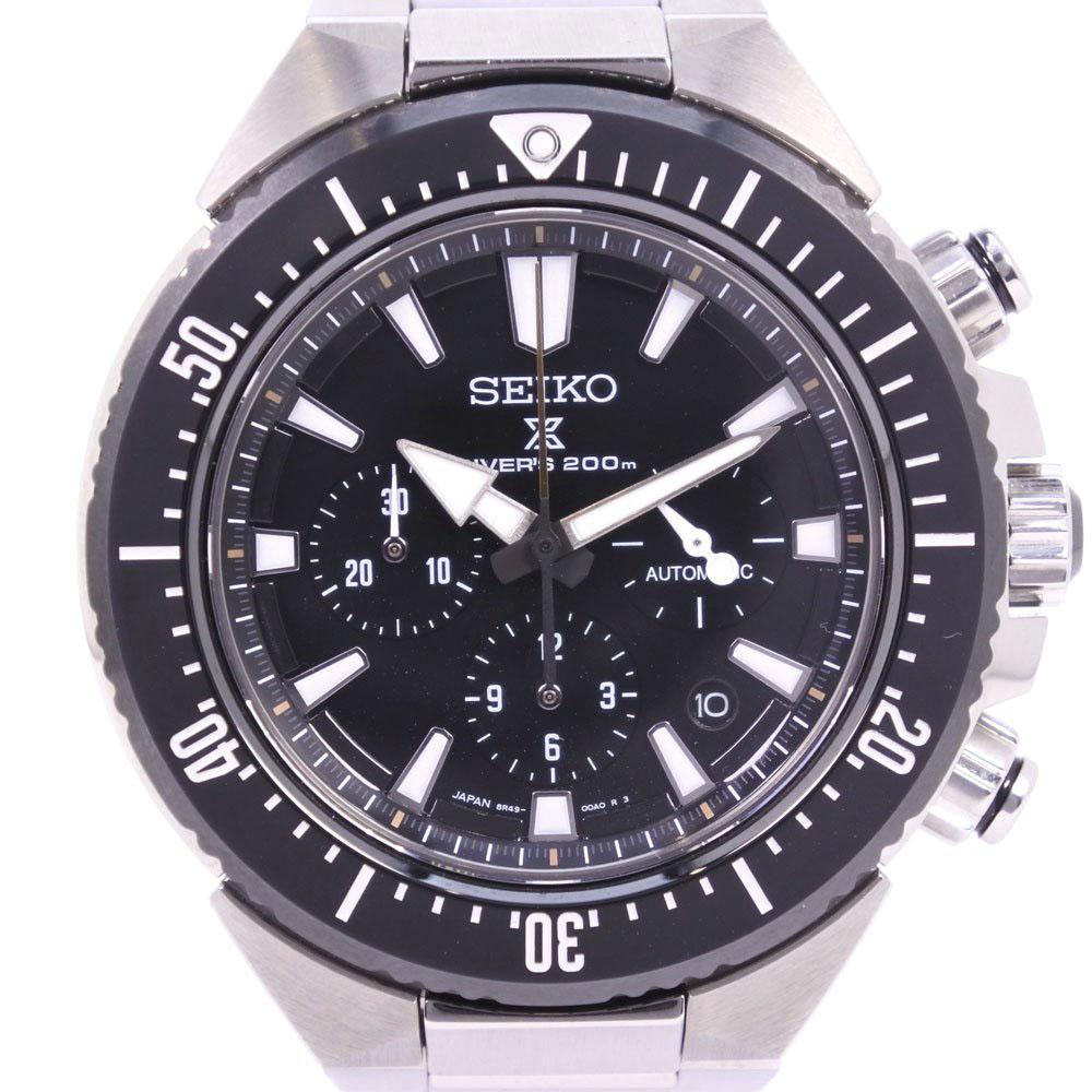 【SEIKO】セイコー プロスペックダイバー トランスオーシャン 8R49-00A0 SBEC001 ステンレススチール シルバー 自動巻き メンズ 黒文字盤 腕時計【中古】A+ランク