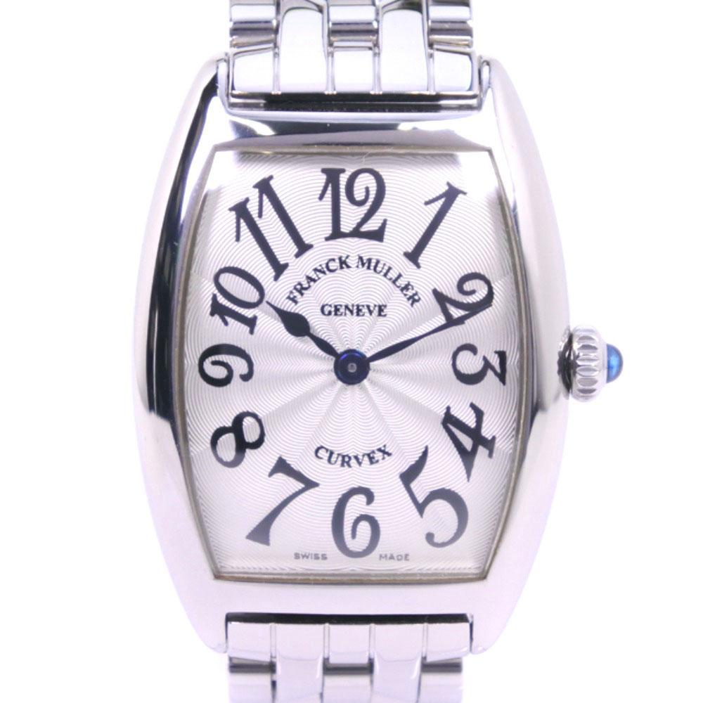 【FRANCK MULLER】フランクミュラー トノーカーベックス 1752QZ ステンレススチール クオーツ レディース シルバー文字盤 腕時計【中古】SAランク