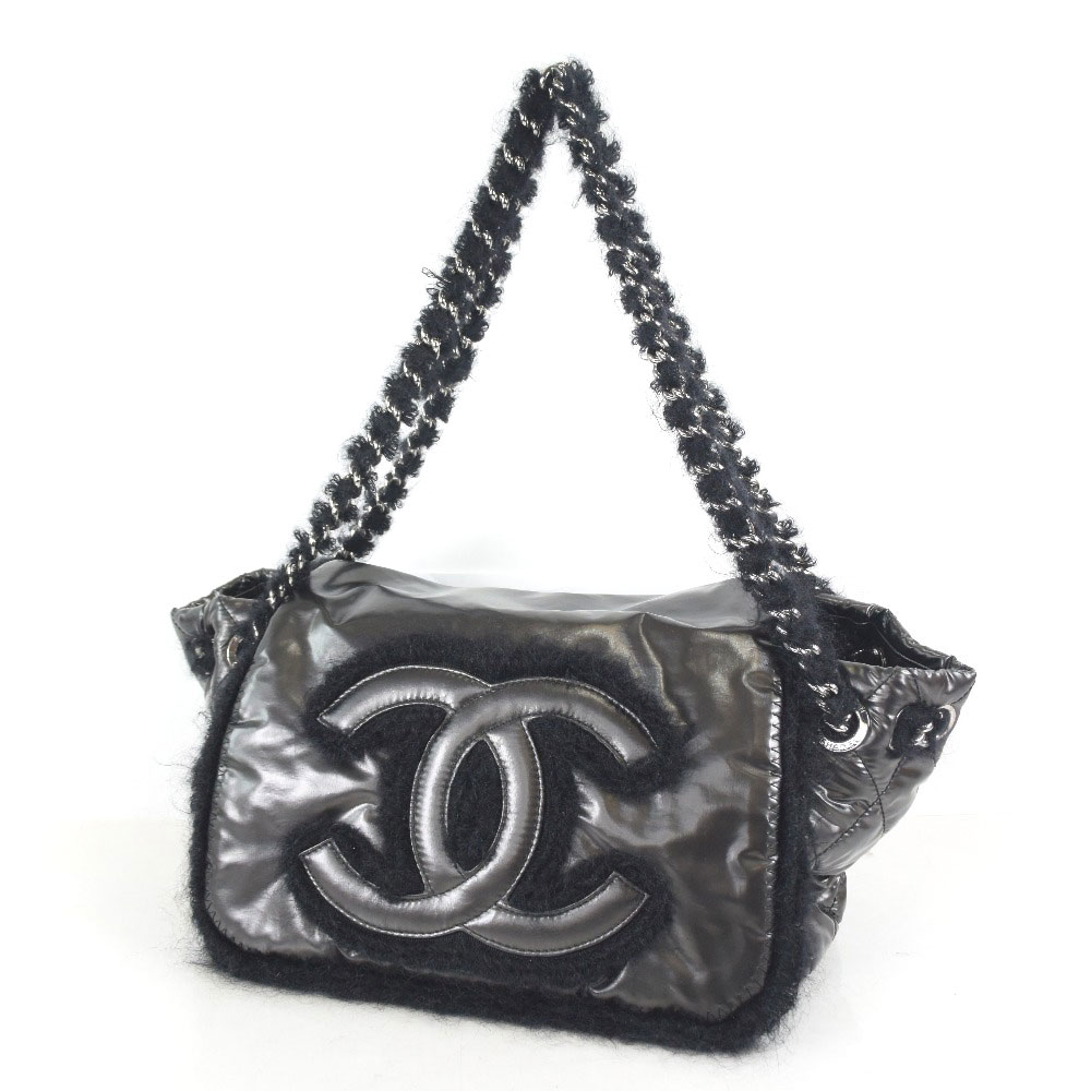 63c18bf02c8f08 ... Chanel luxury fabric flap mohair nylon black Lady's shoulder bag A rank  ...