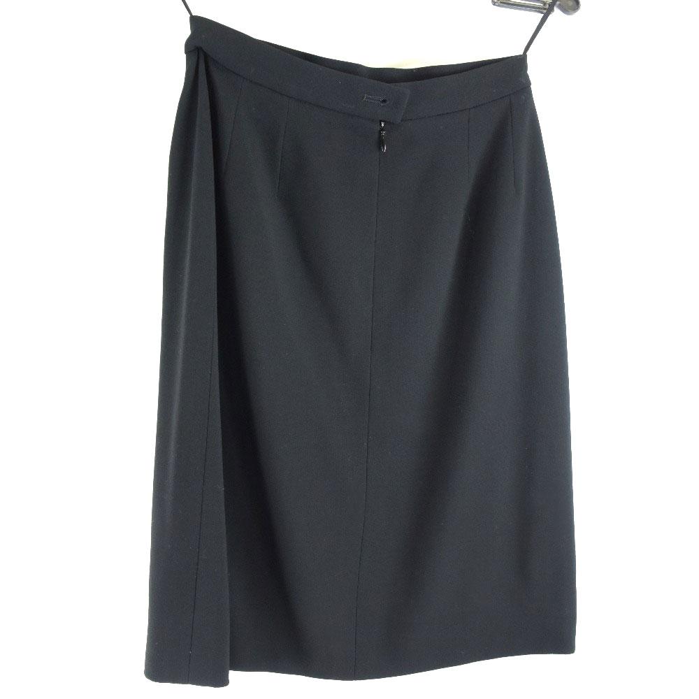 【CHANEL】シャネル 94305 P11160V06456 ウール×シルク 黒 レディース スカート【中古】Aランク