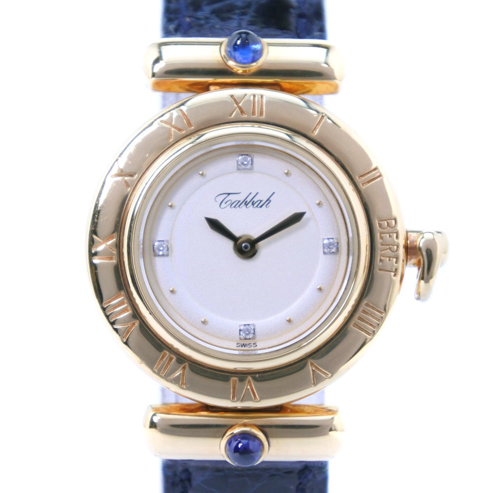 【Tabbah】タバー ベレ BERET 4Pダイヤ K18イエローゴールド×レザー ネイビー クオーツ レディース シルバー文字盤 腕時計【中古】A-ランク