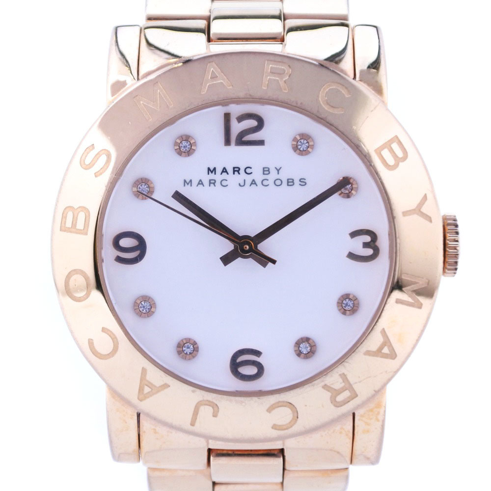 【MARC BY MARC JACOBS】マークバイマークジェイコブス MBM3077 ステンレススチール ゴールド クオーツ レディース 白文字盤 腕時計【中古】