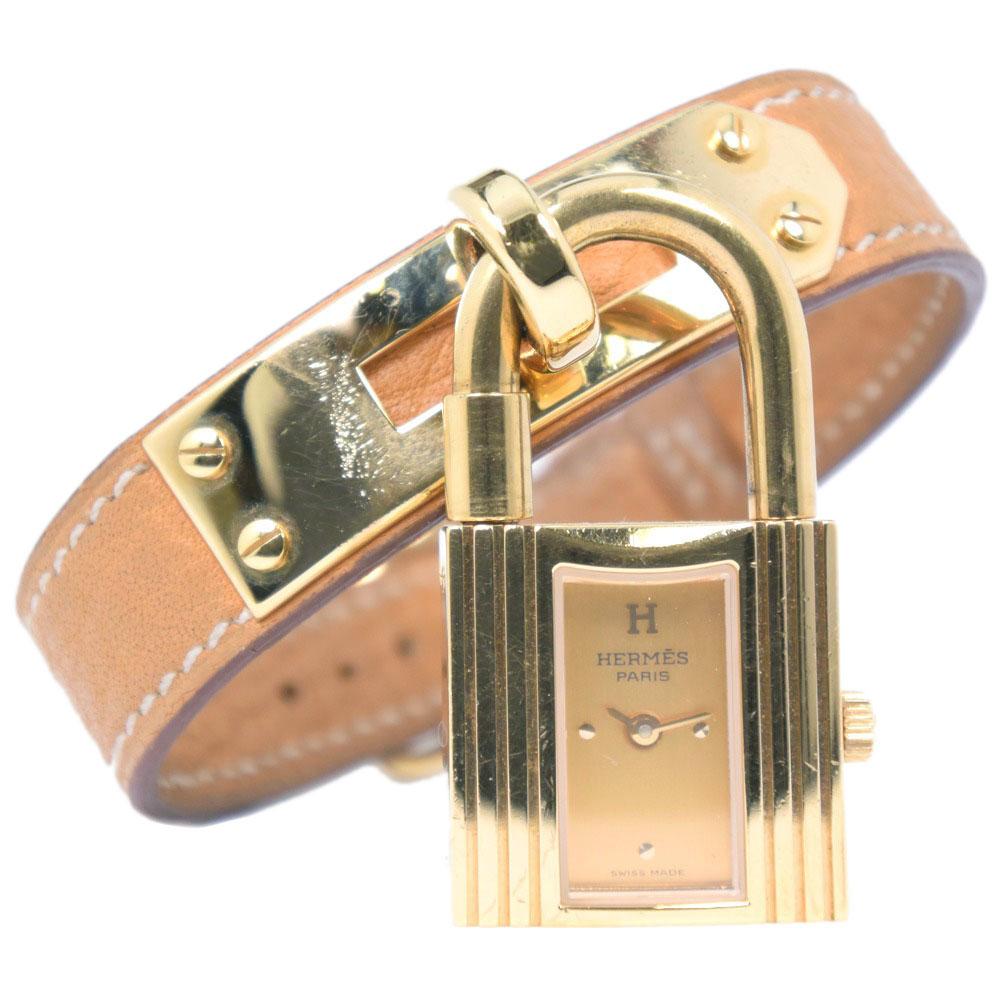 【HERMES】エルメス ケリーウォッチ ステンレススチール×レザー 〇Z刻印 クオーツ レディース ゴールド文字盤 腕時計【中古】