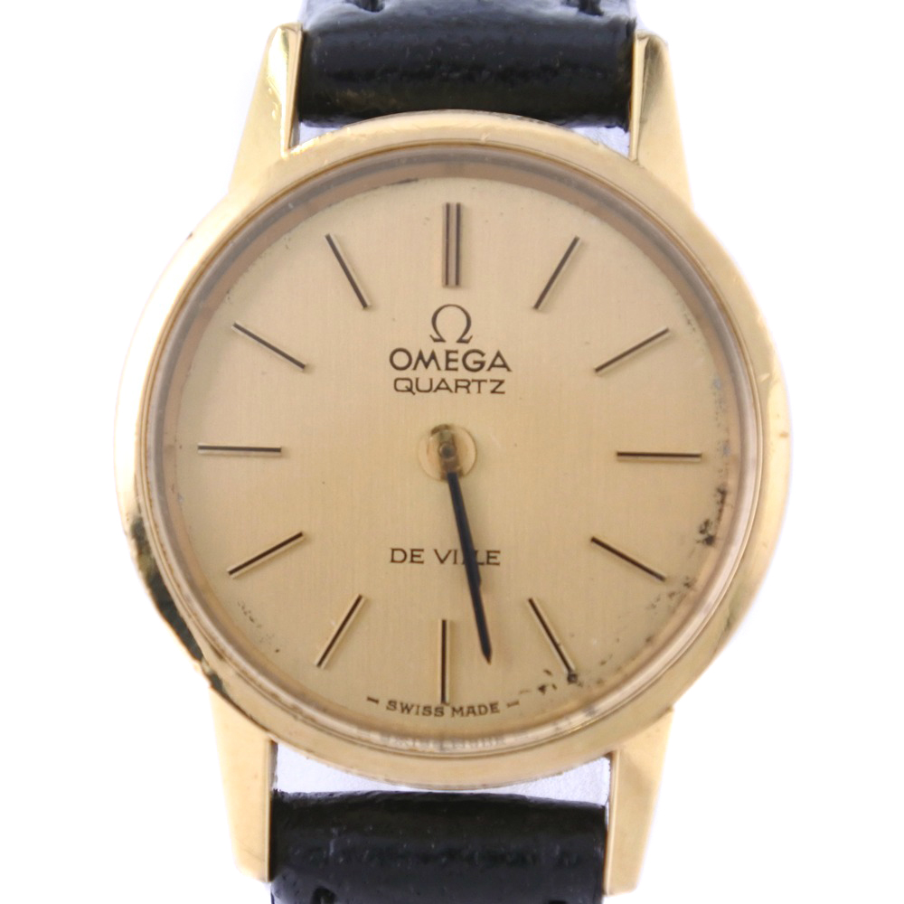 【OMEGA】オメガ デヴィル デビル ステンレススチール×レザー ブラック クオーツ レディース ゴールド文字盤 腕時計【中古】