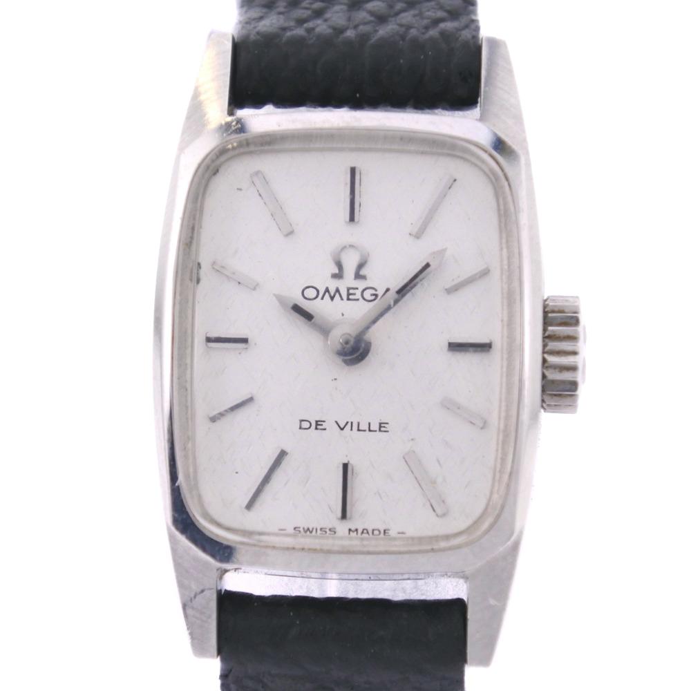 【OMEGA】オメガ デヴィル デビル cal.485 ステンレススチール ブラック 手巻き レディース シルバー文字盤 腕時計【中古】