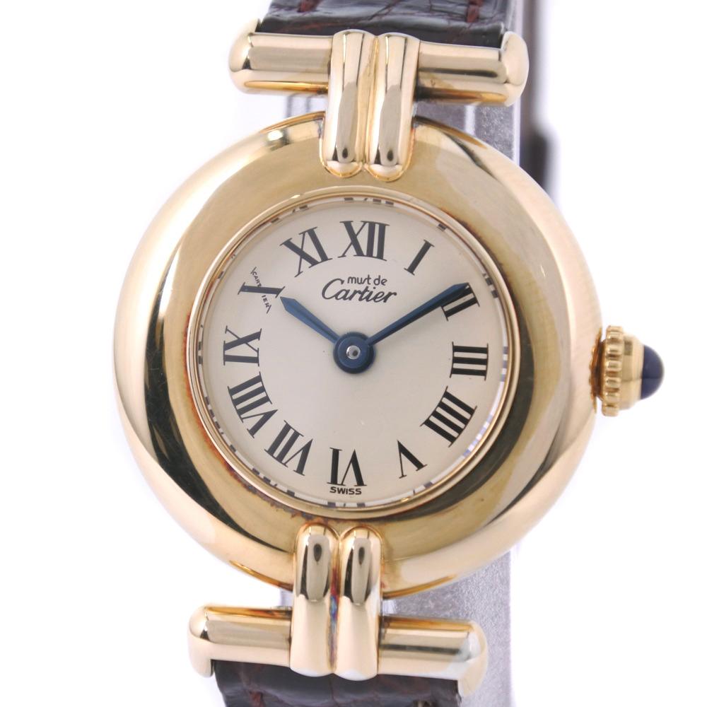 【CARTIER】カルティエ マストコリゼ ヴェルメイユ 590002 シルバー925×レザー ゴールド クオーツ レディース クリーム文字盤 腕時計【中古】A-ランク