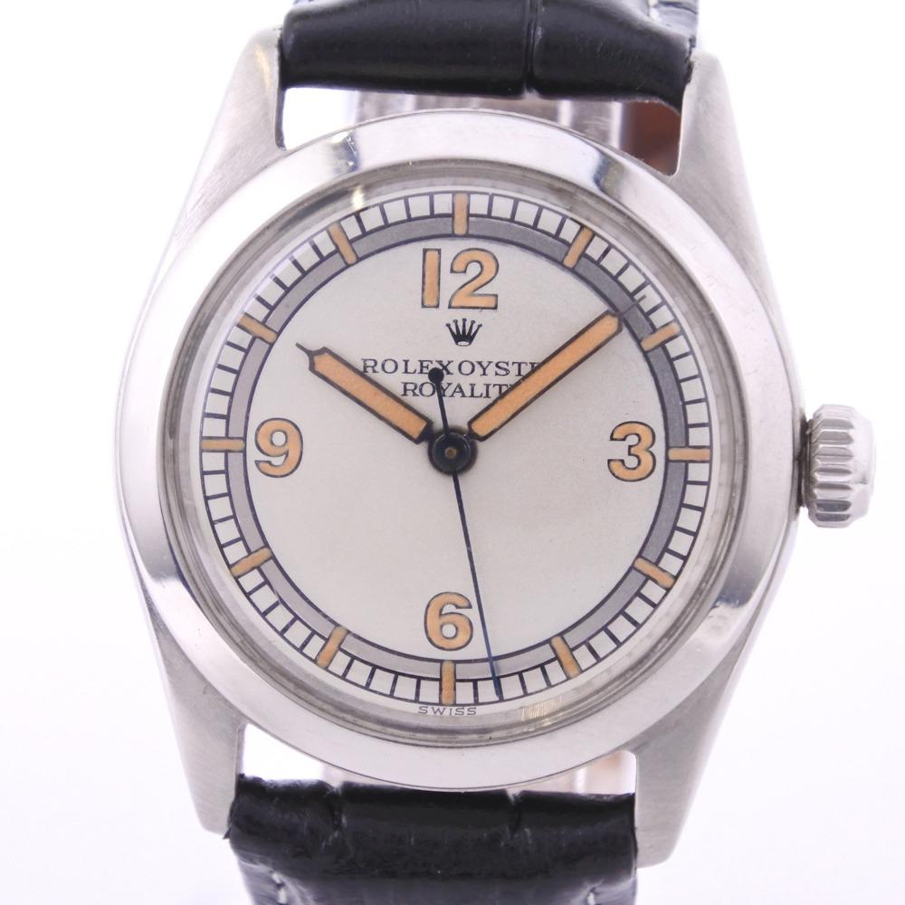 【ROLEX】ロレックス ROYALITE 4220 ステンレススチール×レザー ブラック 手巻き ボーイズ シルバー文字盤 腕時計【中古】A-ランク