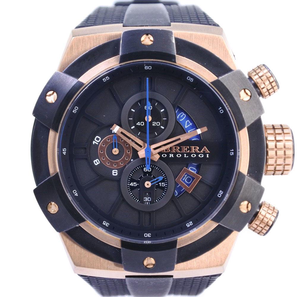 【BRERA OROLOGI】ブレラオロロジ BRSSC49 ステンレススチール×ラバー ブロンズ クオーツ メンズ 黒文字盤 腕時計【中古】A-ランク