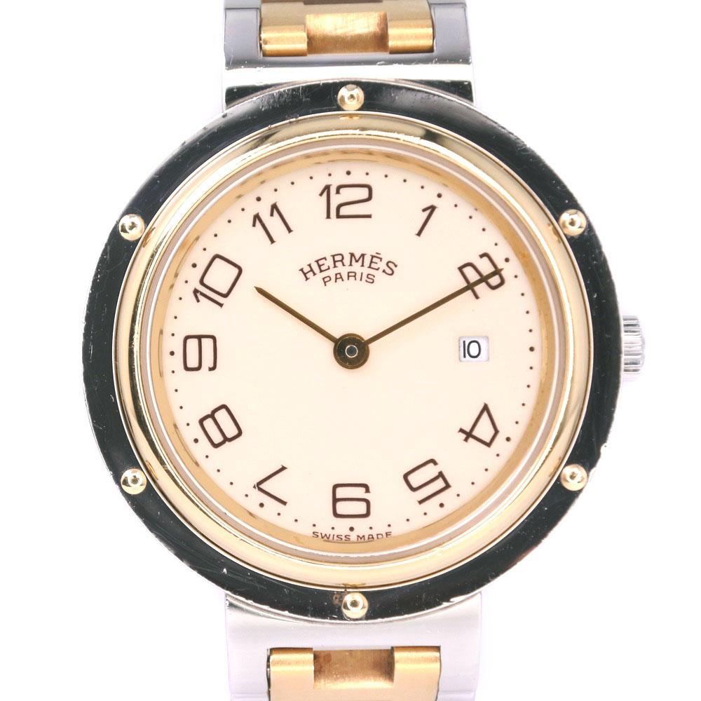 【HERMES】エルメス クリッパー コンビ ステンレススチール×GP ゴールド クオーツ ボーイズ クリーム文字盤 腕時計【中古】