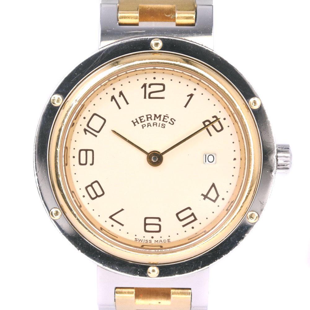【HERMES】エルメス クリッパー コンビ ステンレススチール×GP ゴールド クオーツ レディース クリーム文字盤 腕時計【中古】