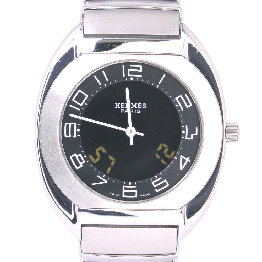 【HERMES】エルメス エスパス ES1.710 ステンレススチール シルバー クオーツ メンズ 黒文字盤 腕時計【中古】