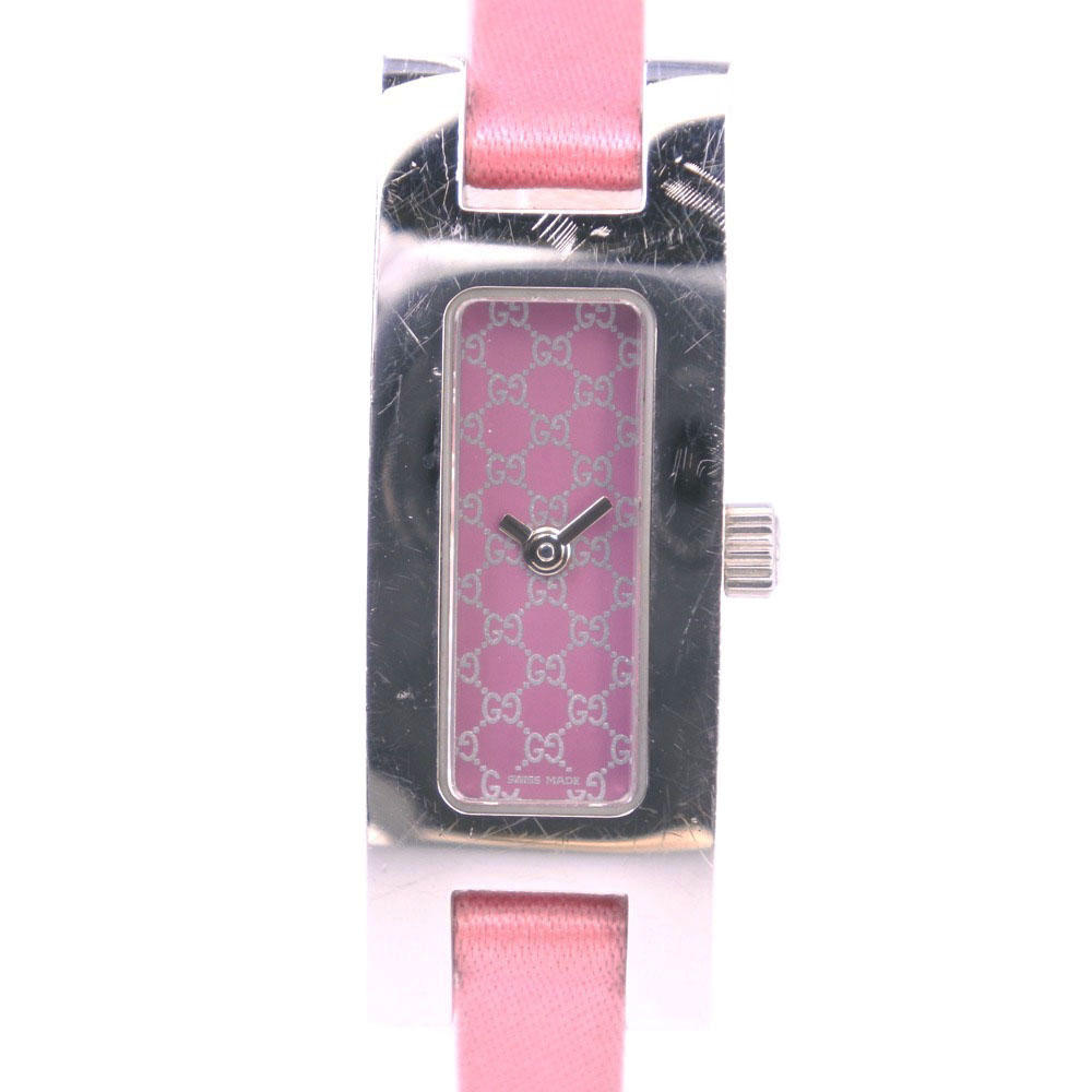 【GUCCI】グッチ 3900L ステンレススチール×サテン シルバー クオーツ レディース ピンク文字盤 腕時計【中古】