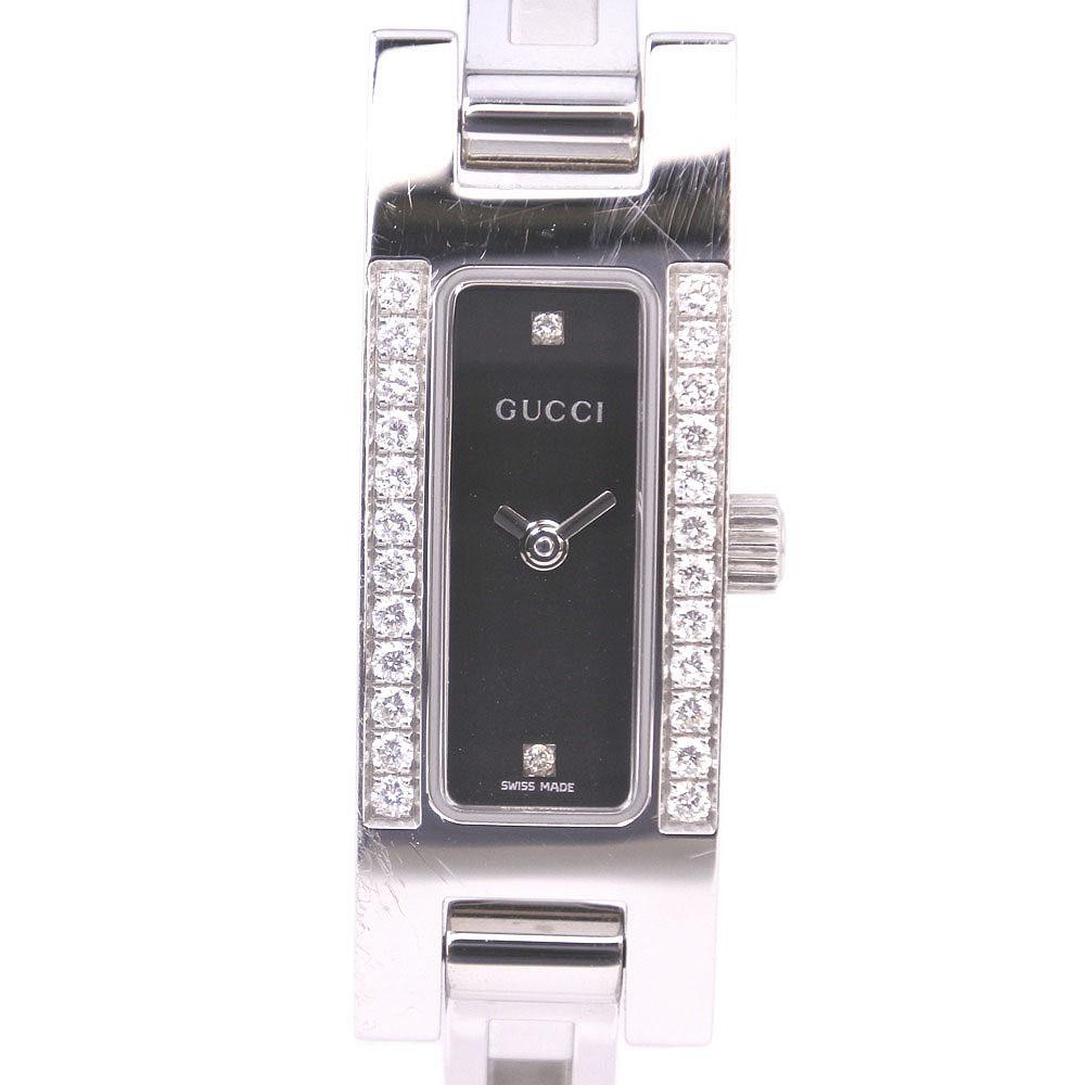 【GUCCI】グッチ 2Pダイヤ 3900L ステンレススチール シルバー クオーツ レディース 黒文字盤 腕時計【中古】