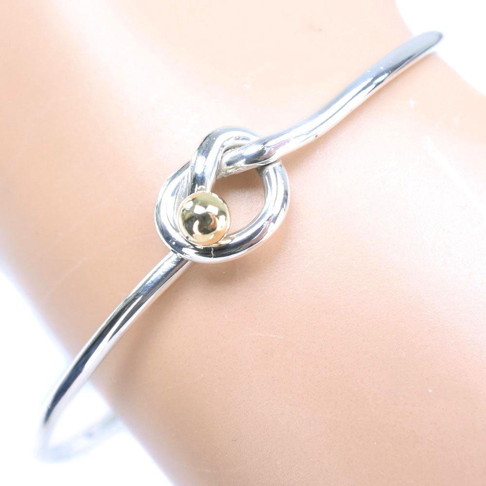 ef13d1f67 Tiffany love knot bangle 17 K18 yellow gold X silver 925 Lady's bracelet A  rank ...