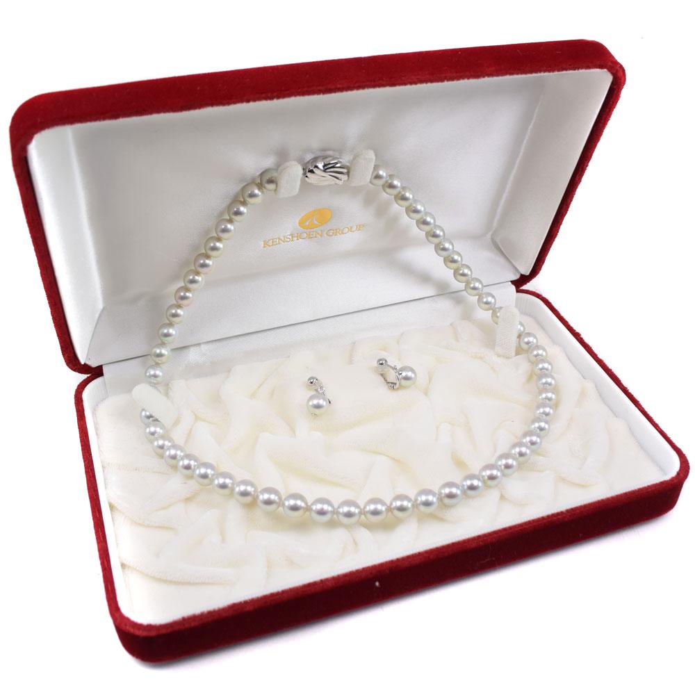 黒真珠 パール イヤリング セット 7~7.5mm K14ホワイトゴールド×シルバー レディース ネックレス【中古】Aランク