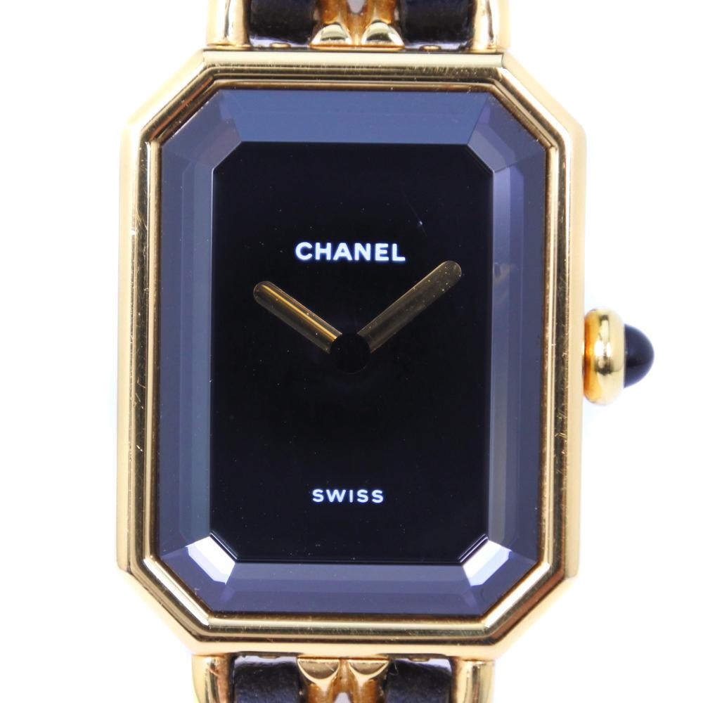 【CHANEL】シャネル プルミエールM GP×レザー ゴールド クオーツ レディース 黒文字盤 腕時計【中古】