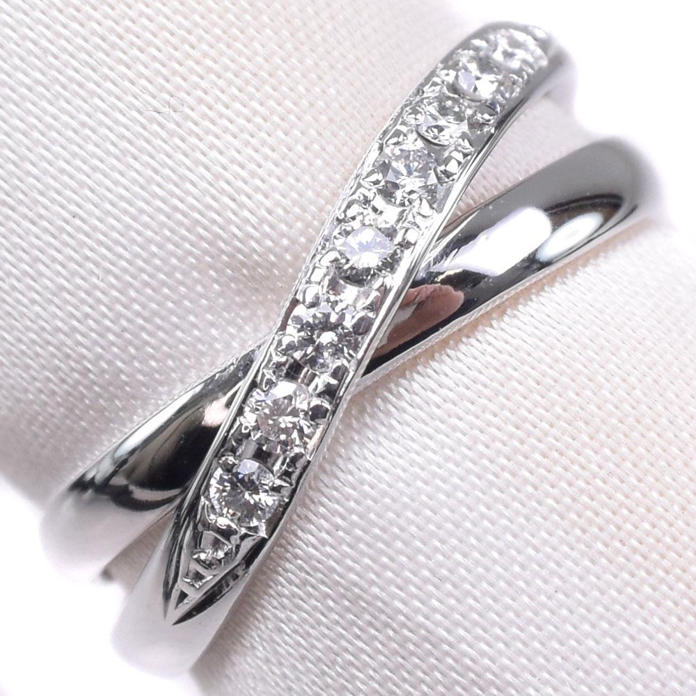 【Ponte Vecchio】ポンテヴェキオ ダイヤモンド 10号 K18ホワイトゴールド 10号 D0.15刻印 レディース リング・指輪【中古】SAランク