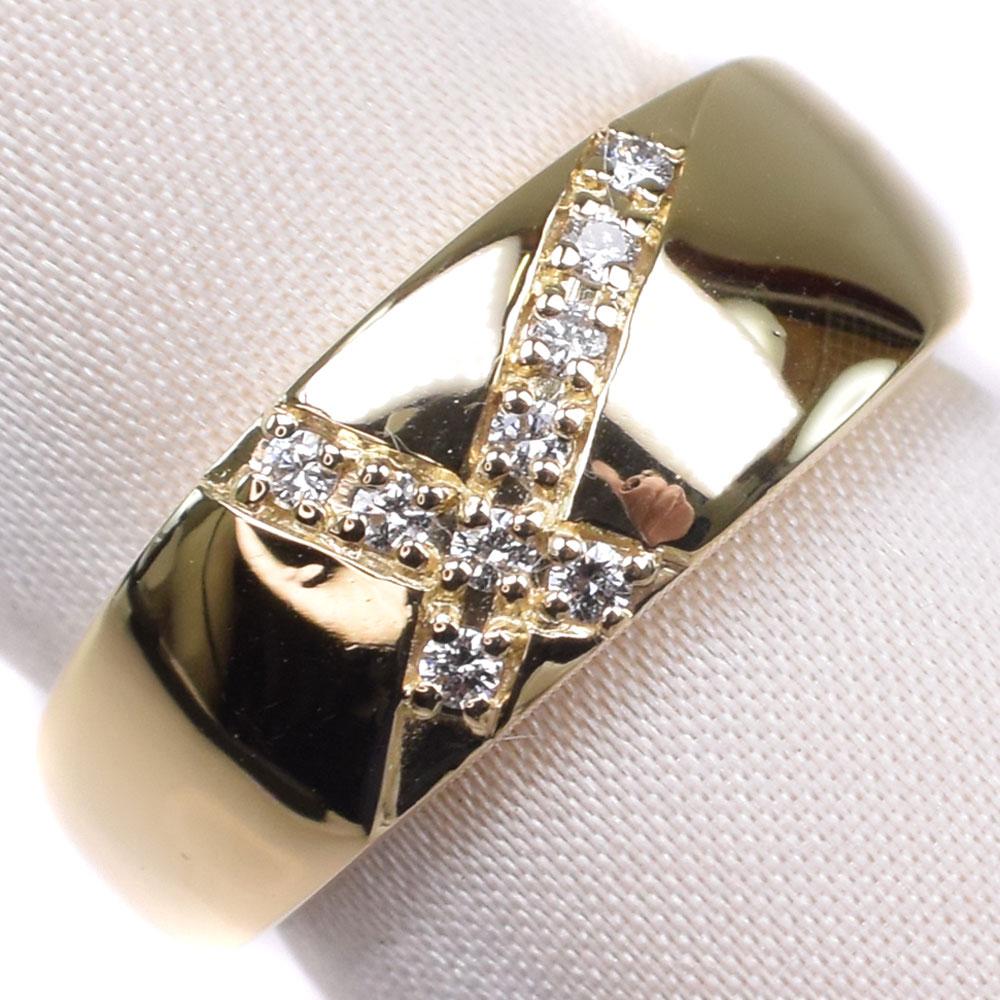 【TASAKI】タサキ ダイヤモンド クロス K18イエローゴールド 12号 D0.09刻印 レディース リング・指輪【中古】SAランク