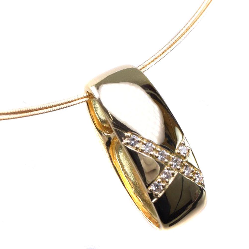 【TASAKI】タサキ ダイヤモンド クロス K18イエローゴールド D0.09刻印 レディース ネックレス【中古】SAランク