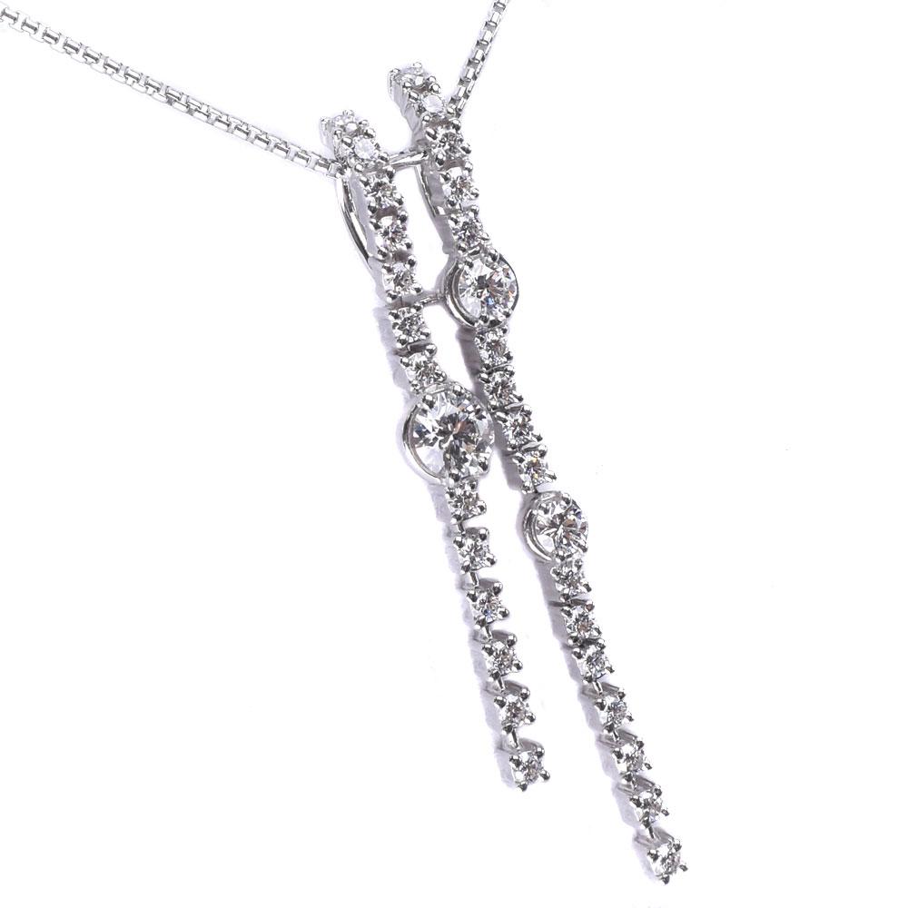 【TASAKI】タサキ ダイヤモンド K18ホワイトゴールド D0.53/0.50刻印 レディース ネックレス【中古】SAランク