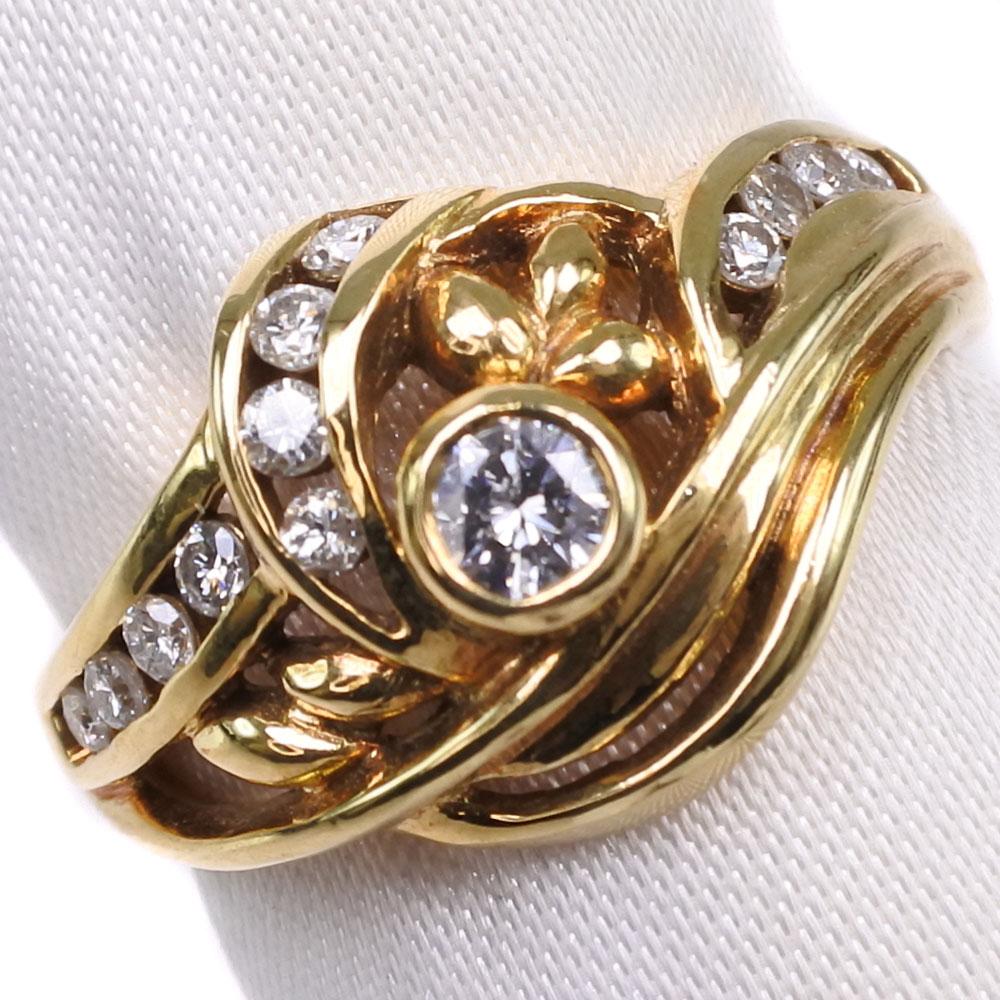 K18ゴールド×ダイヤモンド 13号 D 0.12 / FD 0.21刻印 レディース リング・指輪【中古】SAランク