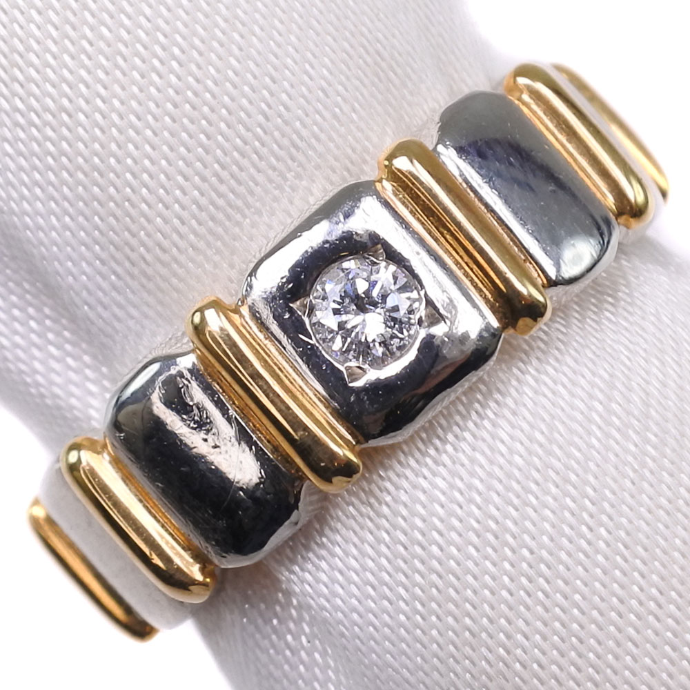 K18ゴールド×Pt900プラチナ×ダイヤモンド 11号 D 0.07刻印 レディース リング・指輪【中古】SAランク